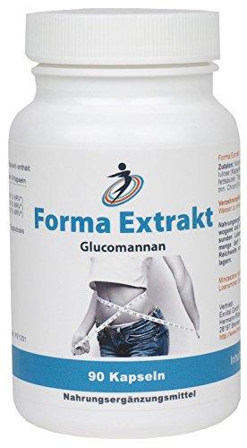 Forma Ex, 90 Kapseln Glucomannan. Trägt im Rahmen einer kalorienarmen Ernährung zu Gewichtsverlust bei.