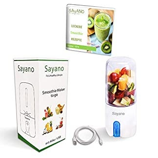 Sayano-Smoothie-MixerMaker-to-go-USB-E-Book-mit-Rezepten-Blau-480ml