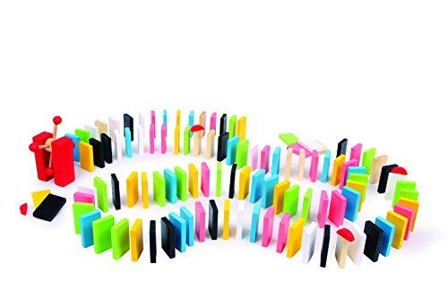 Domino-Rallye-Theo-aus-bunt-lackiertem-Holz-140-teilig-mit-besonderen-Elementen-fr-tolle-Effekte-in-einer-praktischen-Holzbox-mit-Schiebedeckel-ab-3-Jahren-Spielstein-ca-5-x-3-x-1-cm