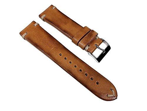 Pony-Vintage-Ersatzband-Uhrenarmband-Pferdeleder-Band-Hellbraun-23113VS-Stegbreite18mm