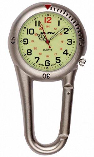 Klox-silber-anklippbarer-Karabiner-metall-Fob-Uhr-leuchtende-Waehltastatur-Sanitaeter-Arzt-Krankenschwester-Unisex-Maenner-Frauen