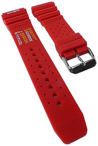Minott-Taucherband-mit-Dekompressionstabelle-Ersatzband-Uhrenarmband-Kunststoff-Band-rot-weich-30818S-Stegbreite22mm