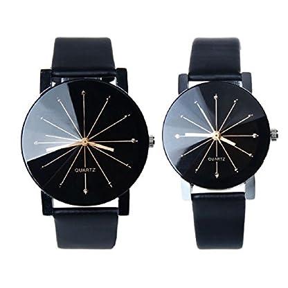 Franterd-Ehepaar-Armbanduhr-1-Paar-2PC-Damen-Herren-Armbanduhr-Quarzuhr-Armbanduhr-Elegant-Uhr-Modisch-Zeitloses-Design-Klassisch-Leder-Schwarz
