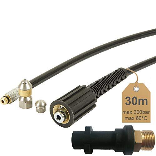 Rohrreinigungsschlauch-30m-200bar-60C-inkl-Dse-starr-Dse-rotierend-inkl-Adapter-geeignet-fr-Hochdruckreiniger-Krcher-von-McFilter