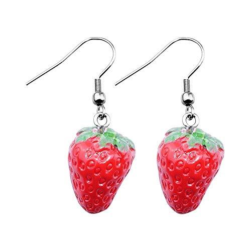 Treuheld® | ERDBEEREN Ohrringe/Ohrhänger – süße Erdbeere Hänger fürs Ohr | Obst rot ausgefallene Ohrringe Frucht FRÜCHTE Strawberry Rockabilly Damen Kostüm Karneval Fasching Edelstahl Silber