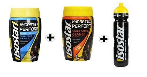 Isostar Hydrate & Perform Grapefruit – Orange – Pulver | 2er Angebotspack + Original 1000ml-Trinkflasche |