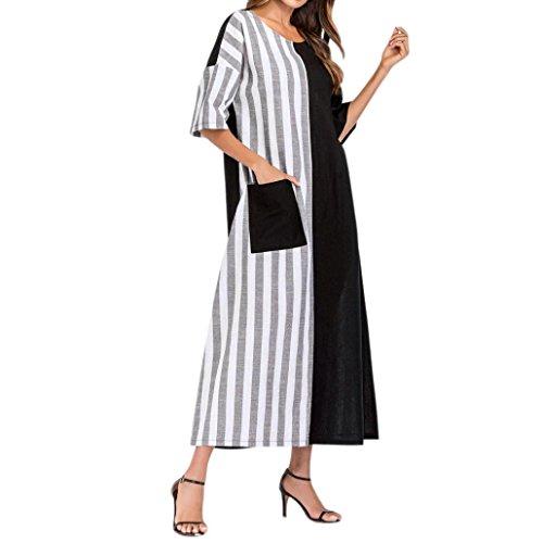 Damen-Kleider-Gestreift-Rundhals-Halbe-Hlse-Lssig-Lose-Kaftan-Lange-Kleid