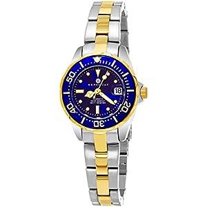 Henry-Jay-Specialty-Aquamaster-Damen-23K-vergoldet-Edelstahl-Armbanduhr-mit-Datum