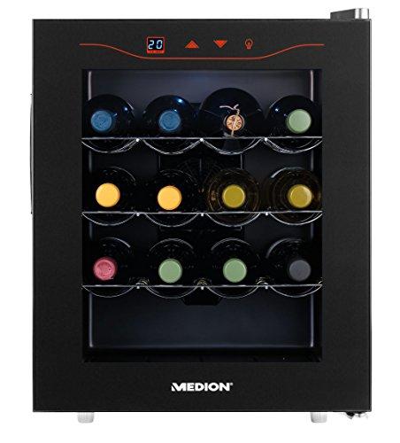 MEDION-MD-15803-Minibar-Weinkhlschrank-klein-und-extra-leise-43-dB-46-Liter-Volumen-16-Flaschen-11-18-C-Thermostat-mit-LED-Touch-Display-Mini-Khlschrank-ohne-Kompressor-und-Kltemittel-Mae-BxHxT-ca-47-