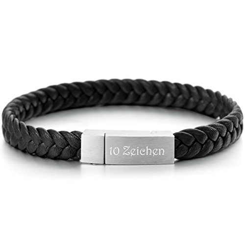 MeMeDIY Edelstahl Echtleder Armband Manschette Geflochten – Kundenspezifische Gravur