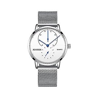 Mens-Busisness-analoge-Quarz-Armbanduhr-Klassische-Kratzer-bestndig-Gesicht-Silber-Edelstahl-Uhrenarmband-White-Dial