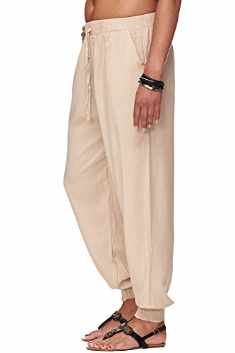ellebasi24 GmbH Damen Sommerhose Uni farben | Haremhose mit engem Bündchen | einfarbige Schlabberhose | Luftige Urlaubshose mit zwei Taschen | Leichte Sommer Hose | weite Chillerhose