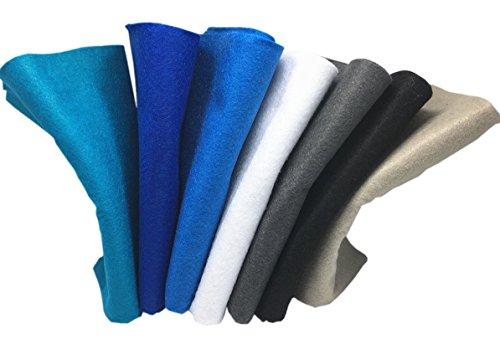 7Pcs Filzstoff Farbig Bastelfilz Weich Vliesstoff DIY Handwerk Projekte Patchwork zum Nähen 45cm X 45cm X 1.4mm mit Freier Fadentasche Winter