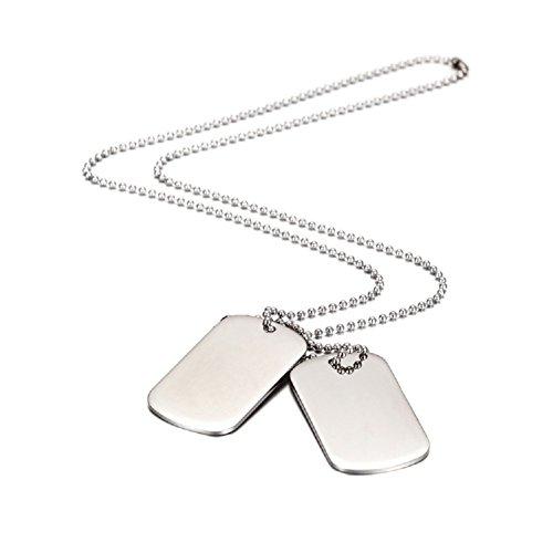 Herren Dog Tag Halskette Motorradfahrer Einstellbare Kette Geschenk für Jungen Silber Schwarz