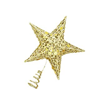 Amosfun-Weihnachten-Glitter-Sterne-Baum-Topper-Metall-fnfzackigen-Stern-Treetop-Weihnachtsbaum-Dekorationen-fr-Home-Hotel-Bro-30cm-Golden
