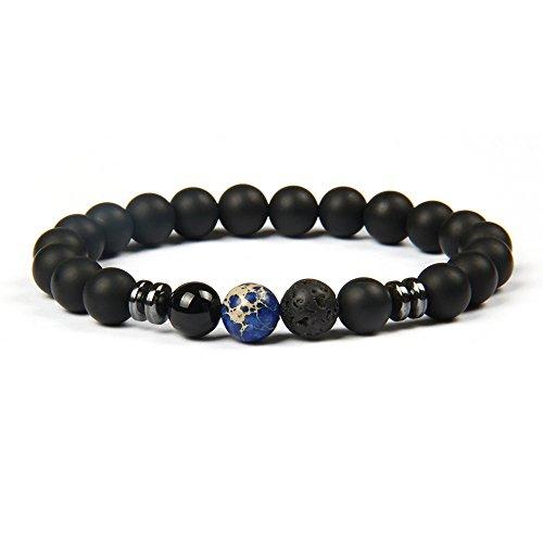 GD GOOD.designs EST. 2015 ® Chakra Perlenarmband aus Onyx Natursteinperlen (Yogaarmband) schwarzes Energiearmband mit bunter Jaspis Perle für Damen und Herren