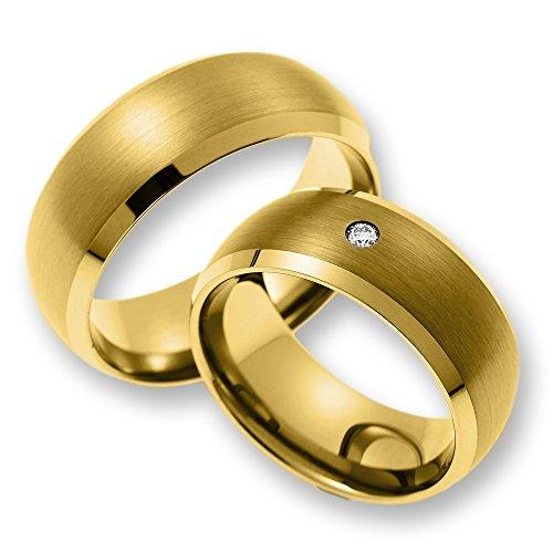 Trauringe Eheringe Freundschaftsringe aus Wolfram/gold mit Diamant (CORE Wolfram Basic Collection) mit GRATIS Gravur SW010.06