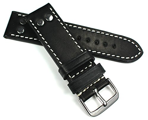 24mm-RIOS1931-Handmade-Germany-Military-schwarz-Style-Armband-Retro-Look-STRAP-Militr-Marine-Flieger-mit-Nieten-Uhrenband-Band-2424mm-NT