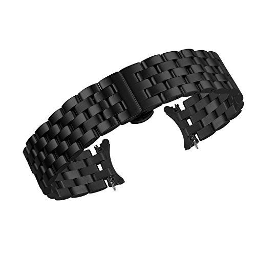 Premium-curved-end-ss-Uhrenbnder-Riemen-22mm-schwarz-Metall-Links-solide-316l-Edelstahl