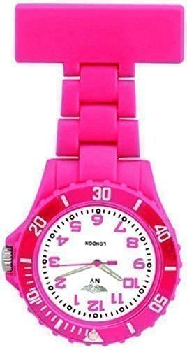 Prince-NY-London-Tief-Rosa-Silikon-Gummi-Kunststoff-Krankenschwester-Taschenuhr-Krankenschwester-Brosche-In-Kniglisch-Tief-Rosa-Farbe
