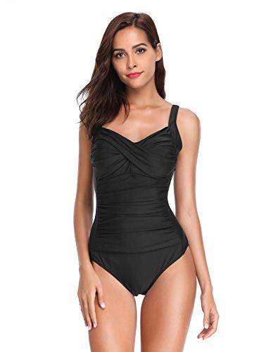 LALAVAVA Damen Retro Monokini Einteiliger Badeanzug Falten Bauch kontrolle Badebekleidung