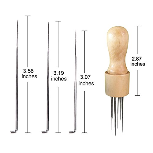 DIY Filzwerkzeug Stanzwerkzeug Filz-Set mit Massiver Holzgriff Filzwerkzeug Effizient Filznadelgriff (Felt Stitch Punch Tool with Solid wood handle)