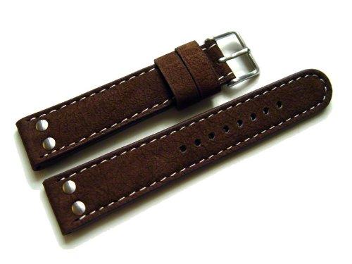 Orig-Watchband-Berlin-Uhrenarmband-Wasserbffel-2-Nieten-dunkelbraun-22mm