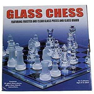 Glasschachspiel-32-Glasschachfiguren-ber-8-Jahre-alt-Stcke-aus-mattiertem-und-transparentem-Glas-und-Glastafel