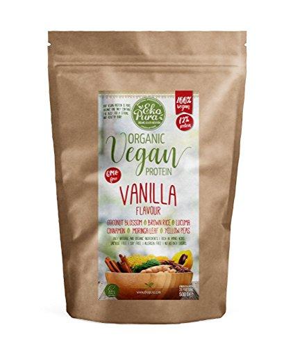 Vegan Protein Bio, Vanille – 72% Protein – Bio zertifiziert – keine Zusätze – 500g