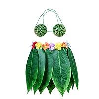 BESTOYARD-Hawaiian-Ti-Leaf-Rock-Grnes-Gras-Rock-mit-knstlichen-Blumen-Wassermelone-BH-Hawaiian-Hula-Kostm-Zubehr-fr-Luau-Beach-Summer-Pool-Party-Supplies