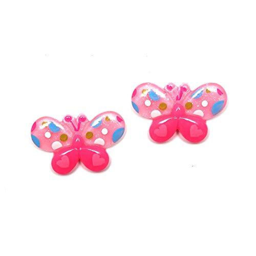 Idin Ohrclips – Rosa gepunktete Schmetterlinge (ca. 21 x 14 mm)