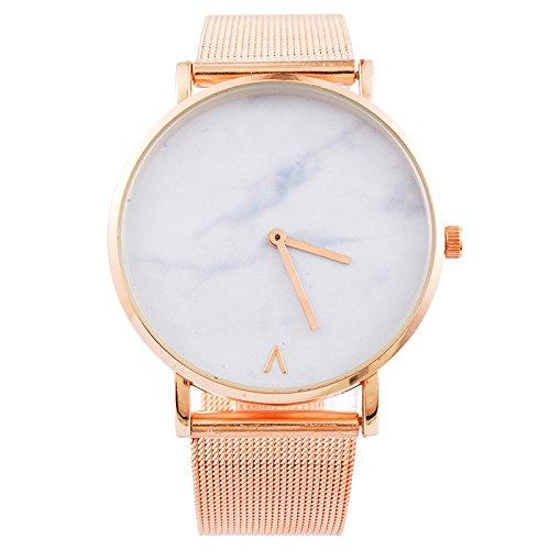 Souarts-Damen-Armbanduhr-Einfacher-Stil-Band-Deko-Uhr-mit-Batterie-Charm-Geschenk-Rosagold-Farbe
