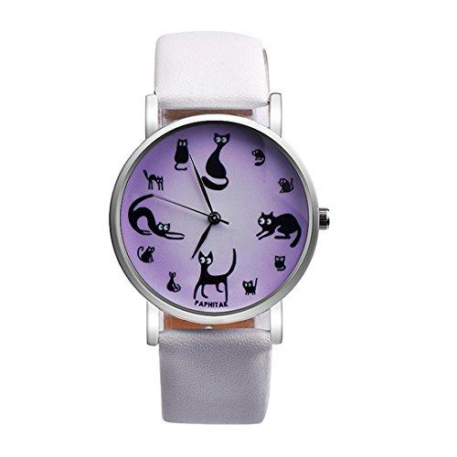 Sepbear-Damen-Mdchen-Jungen-Analog-Quarz-Wasserdicht-Armbanduhr-Casual-Elegant-Mode-mit-Schwarze-Katze-Zifferblatt-und-Leder-Armband-Uhr