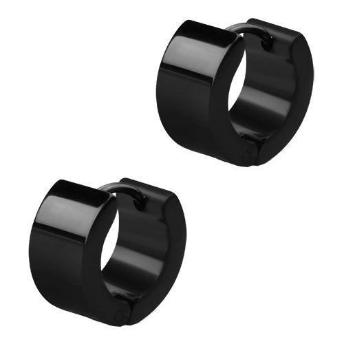 Breite Schwarze Edelstahl Creolen Ohrringe. Klapp-Creolen für Damen und Herren 13mm Durchmesser – 7mm breit (2 Stück / 1 Paar)