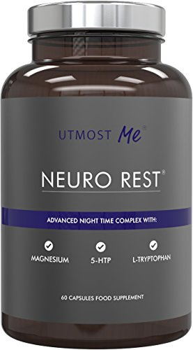 5-HTP + Magnesium + Natürliche Melatonin Schlaftabletten – mit Montmorency Cherry, L-Tryptophan, Kamille | Anti-Angst-Tabletten ohne hohe Stärke 5 HTP Nebenwirkungen | Neuro Rest by Utmost Me (™)
