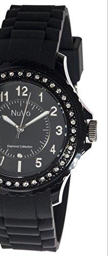 Nuvo-NU160-Armbanduhr-fr-Damen-Quartz-Analog-Schwarzes-Armband-aus-Silikon-Schwarzes-Zifferblatt-Swarovski-Elemente-und-Diamanten-Modisch-Elegant-Stylish