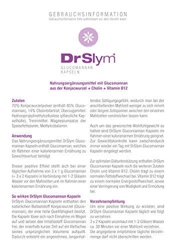 DrSlym GLUCOMANNAN Kapseln – eine natürliche Ballaststoffquelle, trägt bei einer kalorienarmen Ernährung zu Gewichtsverlust und zum Sättigungsgefühl bei – für Deine Diät, für Dein Wohlfühlgewicht