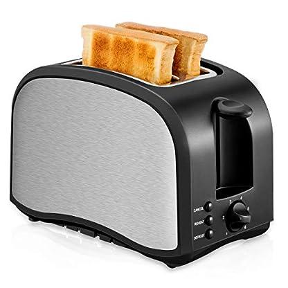 Toaster-2-Scheiben-Edelstahl-Automatik-Toaster-Breite-Schlitze-mit-herausnehmbarem-Tablett-fr-Paniermehl