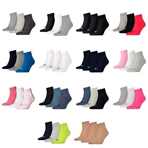 12 Paar Puma Unisex Quarter Socken Sneaker Gr. 35 – 49 für Damen Herren Füßlinge