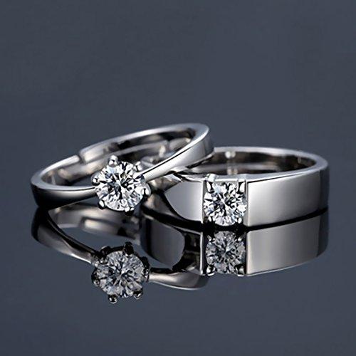 Hellery Eheringe Verlobungsringe (Verstellbar) Aus Edelstahl (30% Silber) & Kristall