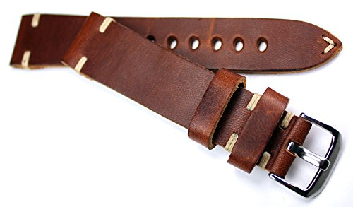 RIOS1931-LEDERBAND-Weie-Naht-20-mm-handmade-BAND-Retro-Look-Vintage-Germany-RIOS1931-2018-mm-braun-Militr-Marine-Flieger-Band-2018mm-BS
