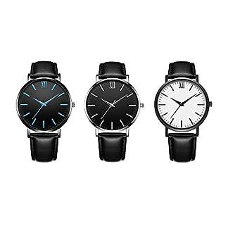 Godagoda-Herren-Armbanduhr-Einfach-Stil-Blauer-Schwarzer-Zeiger-Edelstahl-PU-Leder-Schwarz-Armband-Quarzuhr
