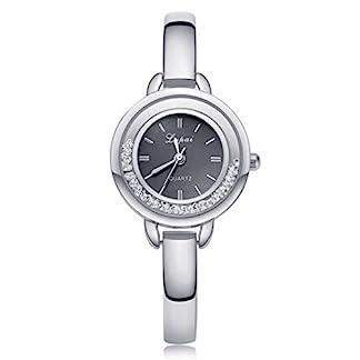 Souarts-Damen-Armbanduhr-Einfach-Stil-mit-Strass-Schwarz-Zifferblatt-Analoge-Quary-Uhr-Silber-Farbe