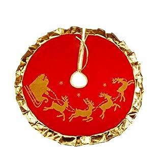 BESTOYARD-Weihnachtsbaum-Rock-Rentier-Schlitten-Muster-Weihnachtsbaumdecke-mit-Golden-Kanten-Tannenbaum-Unterlage-Weihnachtsdeko-90cm-Rot