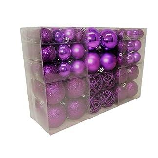 Geschenkestadl-100-Weihnachtskugel-Lila-glnzend-glitzernd-matt-und-100-Metallhaken-Christbaumschmuck-bis–6-cm-Baumschmuck-Weihnachten-Deko-Anhnger