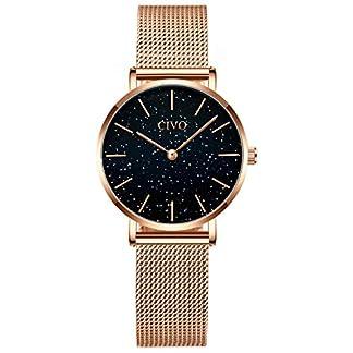 CIVO-Damen-Uhren-Einfach-Wasserdicht-Edelstahl-Mesh-Armbanduhren-fr-Frauen-Mdchen-Jugendliche-Mode-Kleid-Elegant-Schlanke-Analoge-Quarzwerk-Uhr-Rose-Gold