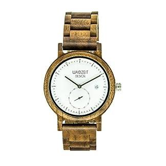 Waidzeit-Holz-Armbanduhr-aus-Walnussholz-mit-Kleiner-Sekunde-und-Datumsanzeige-wahlweise-mit-Holz-oder-Lodenarmband-und-Zwei-edlen-Ziffernblattvarianten-HerrenUnisexmodell