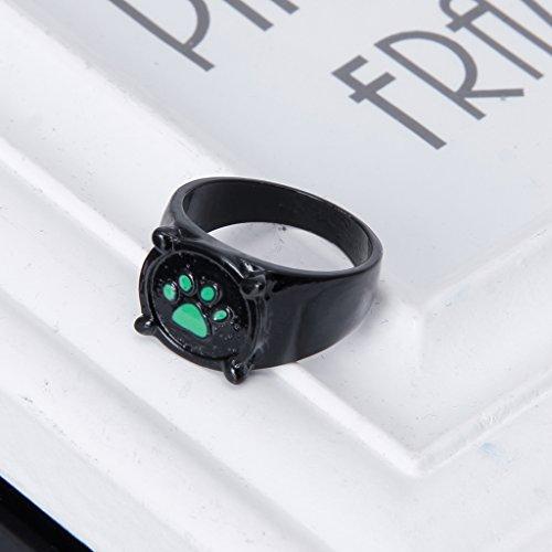 Kalttoy Miraculous Marienkäfer Katze Noir Cartoon Green Pawprint Black Cat Ring für Cosplay