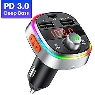 OMORC-FM-Transmitter-Auto-Bluetooth-Deep-Bass-PD30-fr-KFZ-Adapter-Auto-3-USB-Ladegert-Transmitter-Freisprecheinrichtung-mit-MikrofonBluetooth-V507-Farbe-LED-BacklitU-DiskTF-Karte