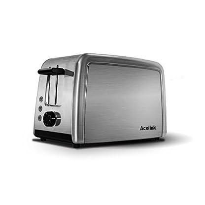Acelink-Automatik-Toaster-2-Scheiben-800-Watt-Edelstahl-Toaster-mit-Brtchenaufsatz-Krmelschublade-7-Brunungsstufen-Silber
